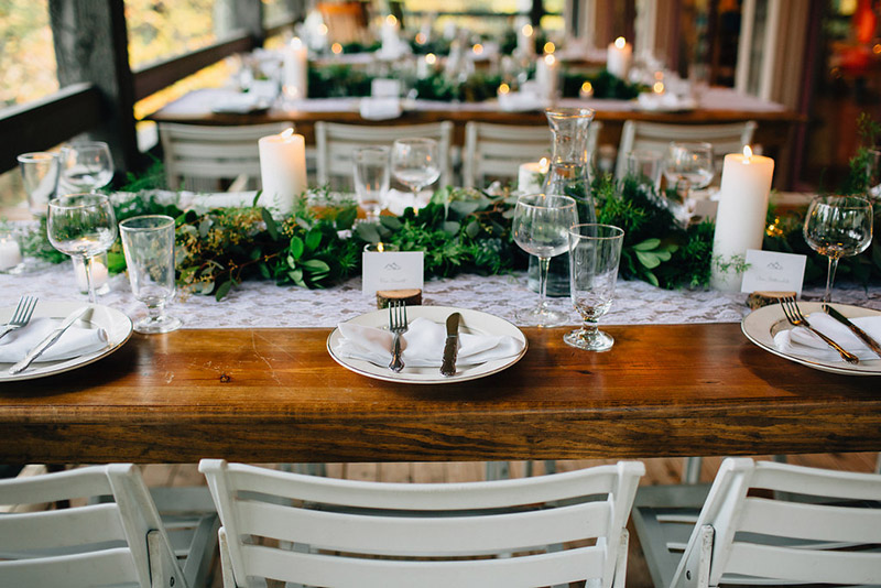 Decorated table with green center piece